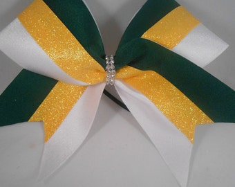 Cheer Bow Hunter Green / Daffodil Yellow Gold Glitter / White w Rhinestone Center by BlingItOnCheerBowz
