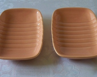 Pair Of Franciscan Ware Coral Soap Dishes VGC
