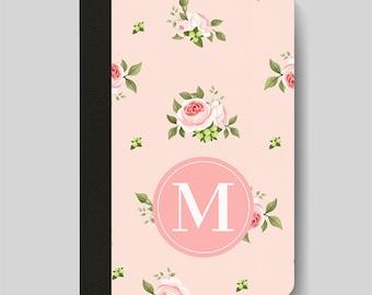 iPad Folio Case, iPad Air Case, iPad Air 2 Case, iPad 1 Case, iPad 2 Case, iPad 3 Case, Pink Floral Patterned Monogrammed iPad Case