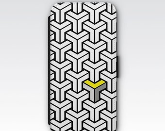 Wallet Case for iPhone 8 Plus, iPhone 8, iPhone 7 Plus, iPhone 7, iPhone 6, iPhone 6s, iPhone 5/5s - Black White Yellow Geometric Case