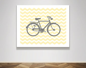 Instant Download - Silhouette Bike on Yellow Chevron - Nursery Child Baby Shower Gift - Poster Wall Art Print Home Decor