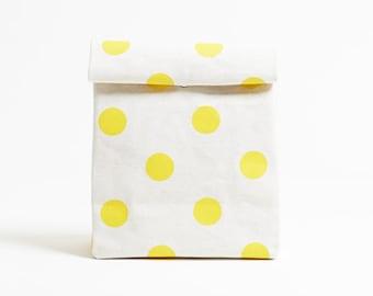 Kamibukuro/Polka dot-Dandelion/paper bag shape multipurpose pouch, travel goods organizer