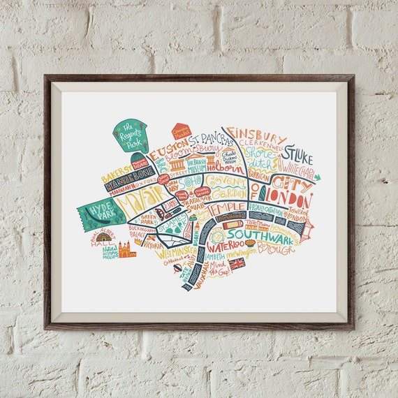 carte de londres art du voyage cadeau pour voyageur poster. Black Bedroom Furniture Sets. Home Design Ideas