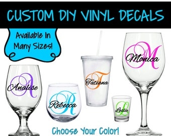 Initial Monogram Square Dots Vinyl Decal Single Letter Decal - Custom vinyl decals for wine glasses