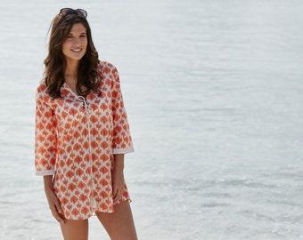 Cotton kaftan, Orange, pink and cream beach cover-up Jasmine