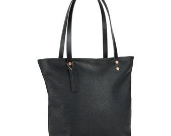 Leather Shoulder Bag (Black Large)