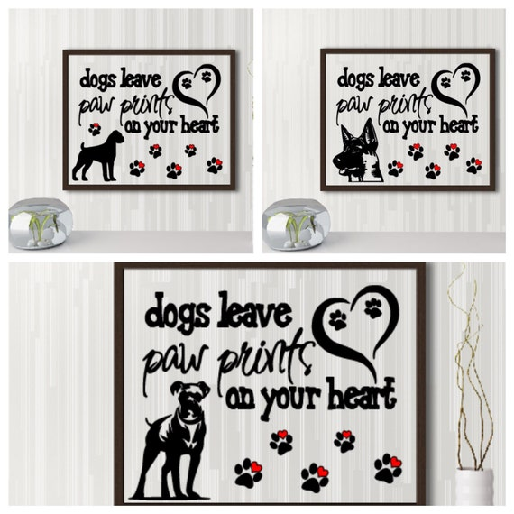 Dogs leave paw prints on our heart quote, Fur babies, Pet frame, Dog frame, Memorial quote, Missing you floating frame, Rest in peace quote