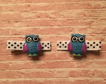 Fun Owl hair clip set