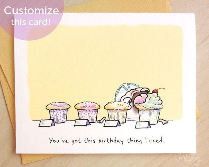 Tiptons Cupcakes Pug Birthday Card Funny Birthday Card – Happy Birthday Card Cute