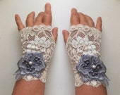 Wedding Rose Elegant Romantic Fingerless Gloves Ivory Grey, Bridal Mittens, Baroque, Lace Mittens, Victorian Lace Armwarmers in Rococo Style