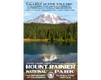 """Mount Rainier WPA-style poster. Color. 13"""" x 19""""  Original artwork, signed by the artist!"""