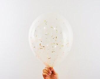 11 Inch Blush Gold Confetti Balloon, Clear Confetti Balloon, 11'' Balloon, Clear Balloon, Wedding Balloon, Birthday Balloon, Party Balloon