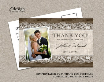 DIY Printable Rustic Wedding Thank You Photo Cards With Burlap And Lace, Elegant Rustic Country Thank You Postcards