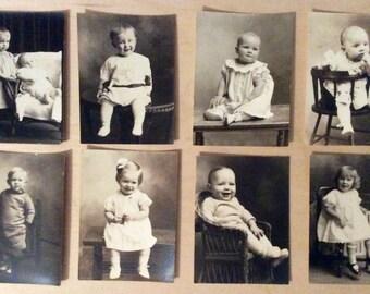 8 Vintage children child boy girl baby photos