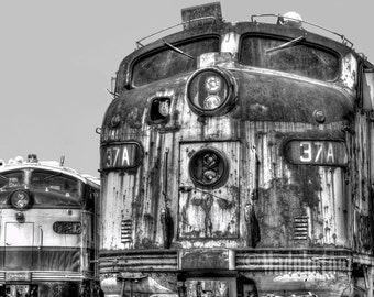 Railroad Photography Decor - Photo of Two Diesel Train Locomotives