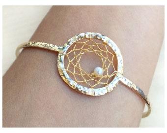 Dream Catcher Bangle - Dream Catcher Bracelet - Boho Chic Bangle - Boho Chic Bracelet