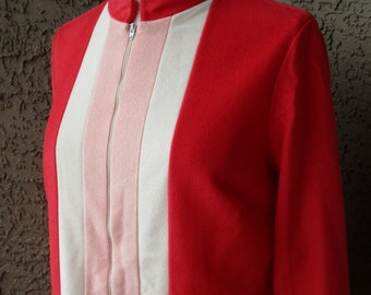 70s Sears At Home Wear Orange Velour with Stripes Zip Front Lounger, Robe Sz M