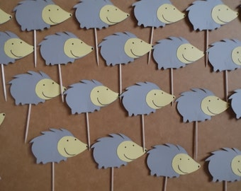 Happy hedgehog cupcake toppers