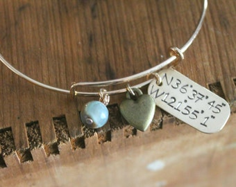 Latitude Longitude Bracelet, Latitude Longitude jewelry, Coordinates bracelet, Coordinates bracelet,
