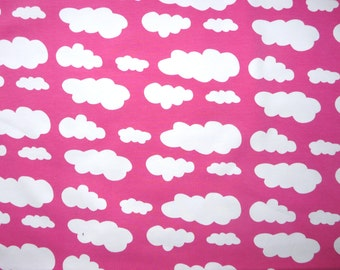 Fabric - jersey fabric - Hot pink cloud print knit