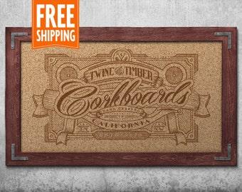 Premium Rustic Framed Corkboard - Red Mahogany