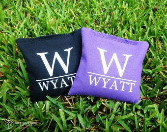 8 Custom Family/Last Name Classic Series Cornhole Bags - Corn Filled