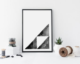 Instant Download Poster - Black and White Watercolor Geometric