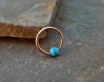 Rose Gold Cartilage Earring  with Turquoise Bead Captive Hoop Body Jewelry 16ga Helix Daith 316 Surgical Stainless Steel