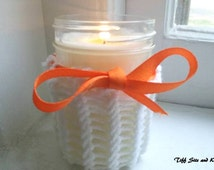 Orange Vanilla Mason Jar Organic Soy Wax Candle Half Pint  8 ounce with  Knit Candle Cozy and Bow