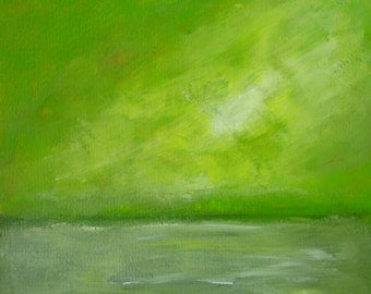 """Spring Feel Green Abstract Landscape Painting on Paper Original Painting Spring Abstract Spring Green Acrylic Painting Spring Smells 10x10"""""""