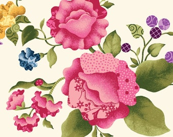 Baltimore Large Roses by Red Rooster (6160-MUL1) Cotton Fabric Yardage