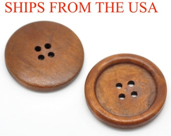 "100 Wood Buttons 1 3/8"", 35mm  Redish Brown Finish Buttons, Bulk Wooden Buttons, Brown Buttons Large Wooden Buttons Wholesale Buttons"