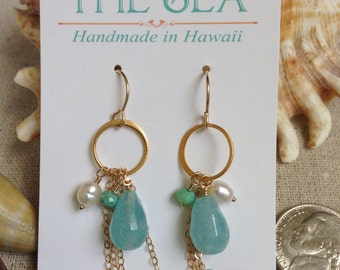 Bohemian beachy gold-fill earrings, Aquamarine briolette attached to a hoop with freshwater pearl, cable chain