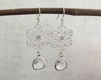 Silver Chandelier Earrings, Silver Earrings, Crystal Drop Earrings, Silver Dangle Earrings, Silver Drop Earrings, Silver Flower Earrings