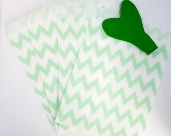 Pack of 12 light green and white chevrons favor bags, birthday party, candy bar, wedding, gift, scrapbooking