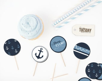Ahoy It's A Boy Baby Shower Cupcake Toppers - Nautical Cupcake Toppers - Cupcake Flags - Cupcake Decor - Caker Toppers - Cupcake Circles