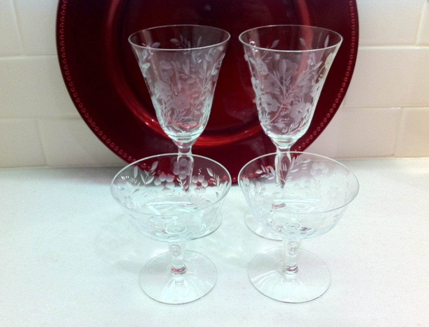 Vintage Etched Crystal Wine Glasses And By Lorasvintageshop