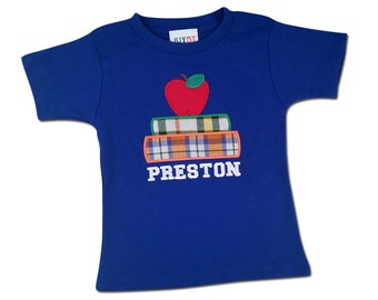 Boy's School Shirt with Book, Apple and Embroidered Name