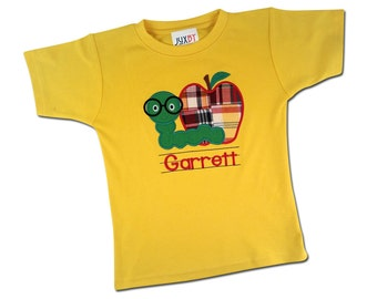 Boy Yellow School Shirt with Apple and Worm and Embroidered Name