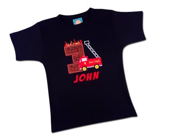 Firetruck Birthday Shirt with Firetruck, Burning Number and Embroidered Name