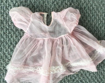 Pink doll dress clothing and slip froom 1950's 1960's