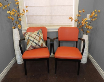 Mid Century Industrial Office Chairs PAIR Orange and Black / 1960sAll Steel Equipment, Inc. / Made in the USA
