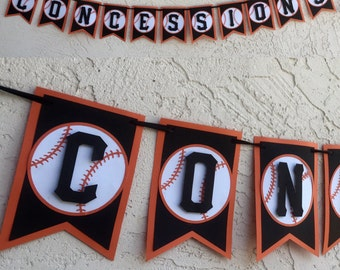 Concessions stand banner, concession baseball banner, baseball banner, San Francisco Giants, baseball party