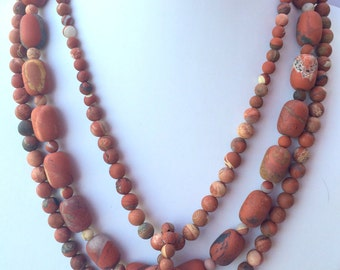 Matte Red Jasper Beaded Necklace