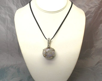 Louisiana Opal (Extremely Rare) Handmade Wire-Wrapped Pendant with Hematite Beads - Tons of Fire!