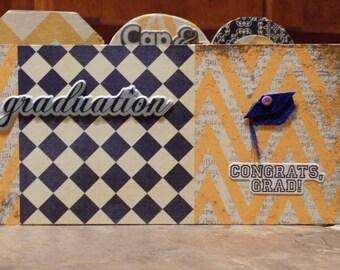 "Premade ""Graduation"" scrapbook album, gift for graduate, graduation memory book for graduate or parents, wood pages, brag book"