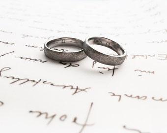 950 he matte Palladium wedding rings - set each 5 mm wide