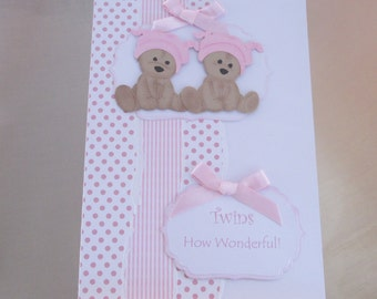 Handmade Birth Card for Twin Girls