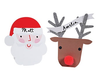 Christmas Place Cards (10) Santa and Rudolph the Red Nosed Reindeer Name Cards, Meri Meri Christmas Decor, Christmas Table Decorations