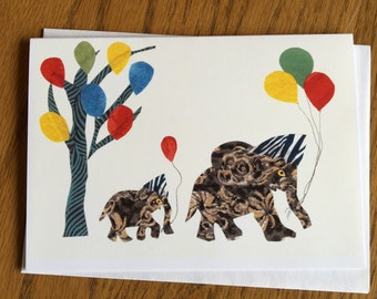 Elephant Birthday Card, baby card, kids card, cut paper art, whimsical, african art, african animal card, greeting card children